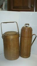 Rare Vintage Glass Blown Thermos/Ice Bucket Set Bamboo Carry Case Eastern China