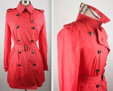 New US 6 Burberry London red nylon trench coat jacket nova check lining belted