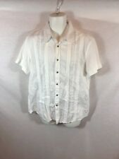 Men's White GUESS Button Front Short Sleeve Casual Shirt Sz XL