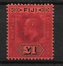 FIJI SG124 1912 £1 PURPLE & BLACK ON RED MTD MINT