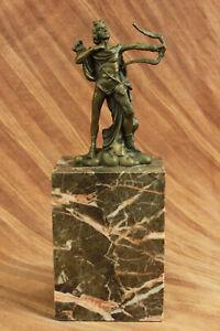 Apollo Milo Handcrafted Bronze Sculpture Figure Original Signed Marble Base T