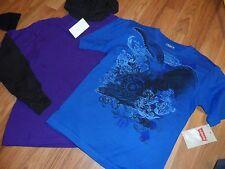 2 boys t-shirt shirt ~ size 6 ~ long sleeve purple/black hooded & blue Levi's