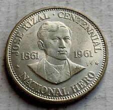 Philippines Silver 1 Peso 1961 - Jose RIzal  Centennial - High Grade