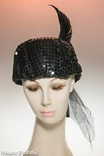 1920's Style Hat Black Felt & Sequin Covered Cloche Costume Hat