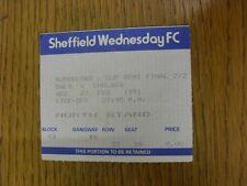 27/02/1991 Ticket: Football League Cup Semi-Final, Sheffield Wednesday v Chelsea