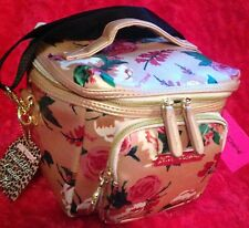 Betsey Johnson Cargo Lunch Box Tote Insulated Bag Rose Gold Floral NEW NWT Pink