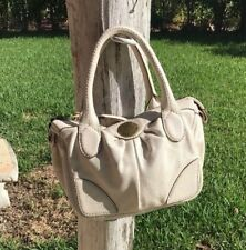 MARC by MARC JACOBS CREAM COLOR LEATHER ZIPPER TOP HAND BAG PURSE