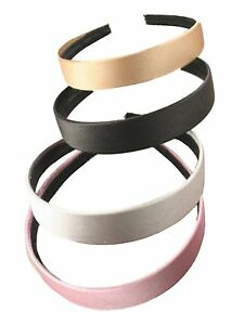 """Coloured Satin Covered Alice Band Hair Headband 2.5cm (1"""") Wide Hair Accessories"""