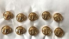 Lot of 10 USSR Russian Navy Uniform Gold tone Metal Buttons 14mm Anchor