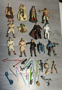 """Star Wars Attack Of The Clones Jedi ETC 3.75"""" Figure Lot Of 13 w/Weapons/Parts"""