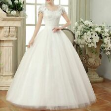Cap Sleeves Gown For Wedding Lace Up Embroidery Bridal Dress Floor-length Cloth