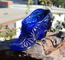 1990s Cobalt Blue Pressed Glass Miniature Shoe / Boot  3""