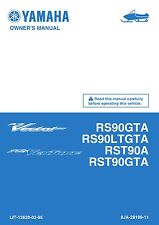 New Yamaha RS90 RST90 GTA LTGTA A 2011 Snowmobile Owners Manual Free Shipping