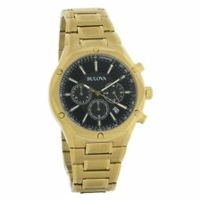 Bulova 97B161 43mm Stainless Steel Case Men's Chronograph Black Dial Gold Tone Bracelet