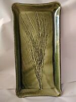 "Handmade Studio Art Pottery Appetizer Tray Wheat Signed by Hugh Wayne 12"" X 6.5"""