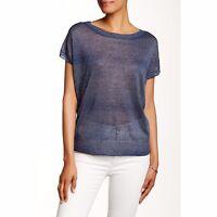 Vince Womens Short Sleeve Sweater Small Linen Blend Blue Slight Dolman Sleeve