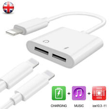 2 in 1 Lightning Aux Headphone Audio Jack Charger Adapter For iPhone 7 8 Plus UK