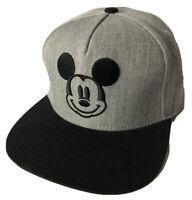 NWOT DISNEY Mickey Mouse Gray Black Men's Adjustable SnapBack Baseball Cap OS