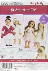 """SIMPLICITY AMERICAN GIRL DOLL CLOTHES Sewing Pattern 18"""" DOLL 8280 NEW!"""