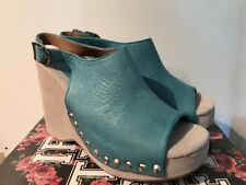 JEFFREY CAMPBELL SKOR BLUE LEATHER WEDGE HEEL SLINGBACK PEEP TOE SHOES 10 NEW
