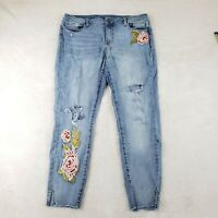 a.n.a. (A NEW APPROACH) 12 Jeans Floral Embroidered Patch Bling Capri Cutoff