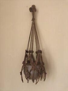 Vintage Macrame Hessian Plant Hanger - Large Holder