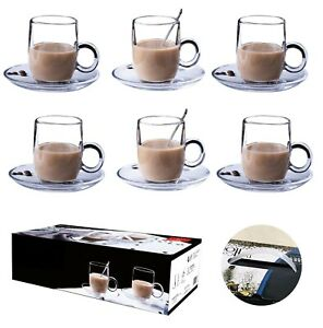 6 X 195ML Glasses Cups Mugs For Coffee ,Tea ,Cappuccino & More With Saucer