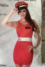 BNWT CAPTAIN MILE HIGH SEXY AIR HOSTESS FANCY DRESS COSTUME FUN SIZE 12 RED MINI