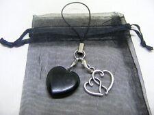Natural Black Obsidian Heart & Entwined Heart Mobile Phone / Handbag Charm