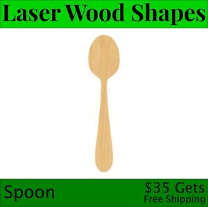 Spoon Laser Cut Out Wood Shape Craft Supply - Woodcraft Cutout