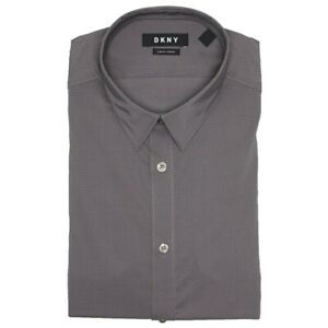 DKNY Men's Slim Fit Dress Shirt M 15-15.5 32-33 Dark Grey Stardust Stretch New