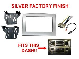 Aftermarket Double Din Stereo Radio Install Silver Panel Trim Dash Kit Bezel