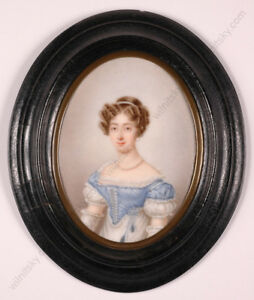 """""""French Lady"""", Large Miniature on Porcelain, ca.1840"""