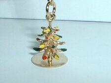 VINTAGE 14K YELLOW GOLD 3D ENAMEL CHRISTMAS TREE PENDANT CHARM