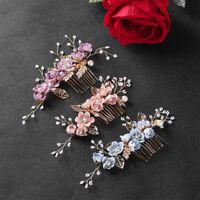 Fashion Flower Hair Comb Gold Leaves Hair Pins Headdress Prom Bridal Decor Hot