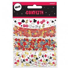 Pack De 3 Casino Confeti - 34g-Cartas de juego, tarjeta de traje, Dados, Stars & dólares