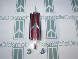 1968 Olds Cutlass F-85 Front Fender Rocket Emblem Set with Hardware