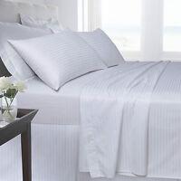 White Bedding 250 TC 100% Satin Stripe Fitted Flat Duvet Quilt Cover Pillow Case