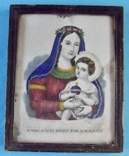 Ancienne Lithographie cadre Croyance sainte Marie et l'enfant Jesus Icône Croix
