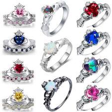 925 Silver Filled Fire Opal Amethyst Crown Love Heart Sapphire CZ Set Rings