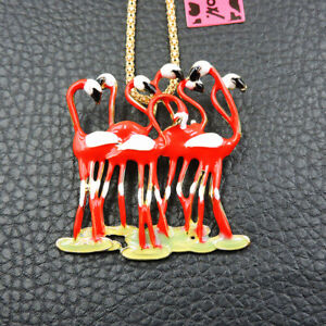 Hot Red Enamel Cute Flamingo Pendant Betsey Johnson Chain Necklace/Brooch