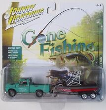 JOHNNY LIGHTNING GONE FISHING 1965 CHEVY TRUCK w/BOAT & TRAILER R1B 1/2,004