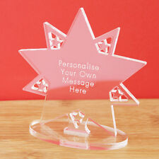 Personalised Clear Star Message Ornament Keepsake Birthday Award Present Gift