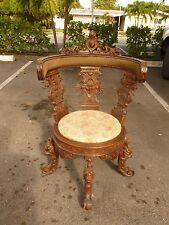 Renaissance Revival 19Th C Italian Venetian Desk Chair Adorned W Faces & Lions