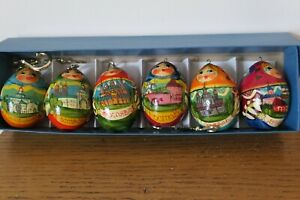 6 Traditional Matryoshka Russian Eggs Hand painted Hanging Vintage Colourful
