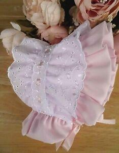 Baby Girl White Broderie Anglaise Trim Christening Bonnet Summer Hat 0-3-6-12-18