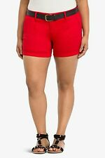 NWT Torrid Plus Size 24 Belted Red Sateen Shorts (VV17)
