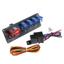 New 12V Racing Car Ignition Switch + 4 Blue & 1 Red LED Toggle Button Panel