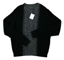 NWT $395 VINCE. Black Marbled Cable Knit Wool Cashmere Crewneck Sweater XL