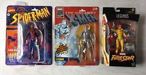 Marvel Legends Spider-Man Amazing Friends Firestar, Ice Man, three figure lot